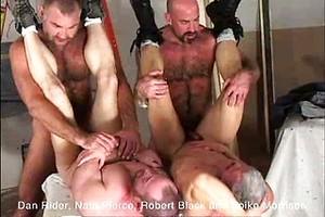 Four hairy muscle bears Dan Rider, Nate Pierce, Robert Black and Spike Mor fucking