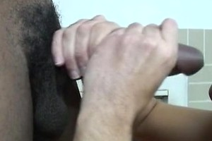 Horny white boy strokes black cock